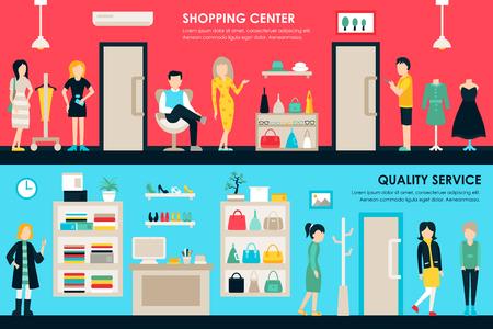 shoe store: Centro comercial y tienda Boutique Rooms plana entre el concepto web. Moda, ropa de Clientes centro comercial al por menor de Compra. Ilustración del vector Vectores