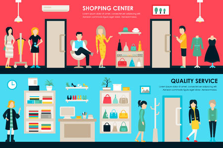 home store: Shopping Center and Boutique Rooms flat shop interior concept web. Fashion Clothes Customers Mall Retail Purchase. Vector Illustration Illustration