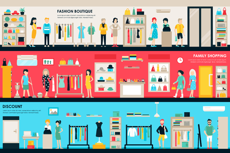 Shopping Center and Boutique Rooms flat shop interior concept web. Fashion Clothes Customers Mall Retail Purchase. Vector Illustration Çizim