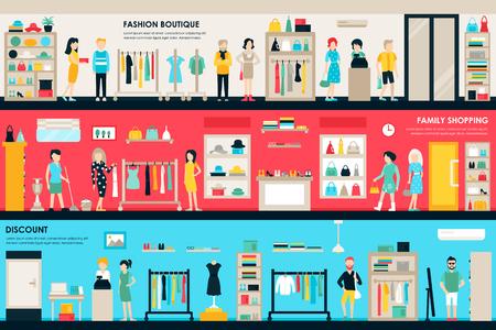 Shopping Center et Boutique Rooms boutique plat concept intérieur web. Fashion Clothes clients Mall Retail Achat. Vector Illustration Vecteurs
