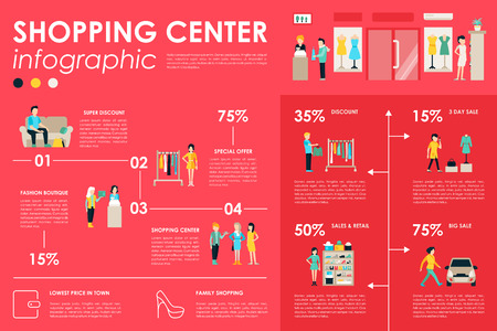 shopping people: Shopping Center concept Retail infographic flat web vector illustration. Info, Graphic, People, Room, Shop, Discount, Boutique. Presentation timeline