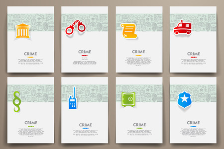 alibi: Corporate identity vector templates set with doodles crime theme. Target marketing concept Illustration