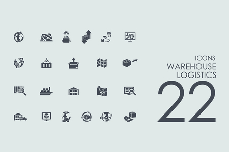 package sending: warehouse logistics vector set of modern simple icons