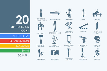 therapy group: orthopedics vector set of modern simple icons