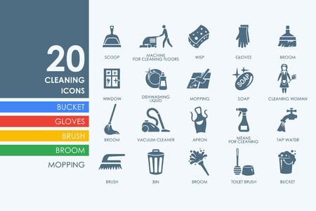 Reinigungs Vektor-Satz von moderne einfache Symbole Standard-Bild - 55137429