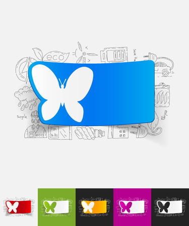 petite: hand drawn simple elements with butterfly paper sticker shadow