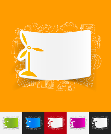 wind turbines: hand drawn simple elements with wind turbines paper sticker shadow