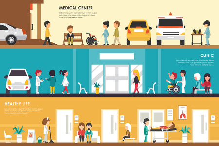 car care center: Medical Center, Clinic and Healthy Life flat hospital interior concept . Ambulance, Emergency, Laboratory. Web Vector Presentation Illustration