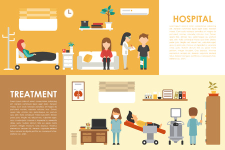 hospital patient: Hospital Medical Treatment flat medical hospital interior concept web vector illustration. Doctor, Patients, Queue, Medicine service presentation