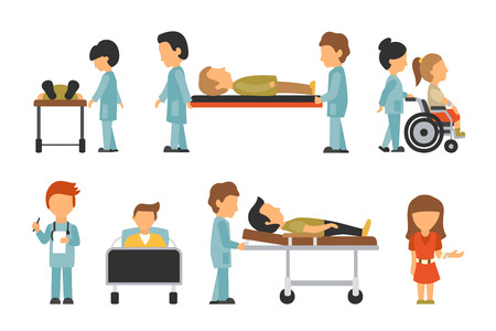 hospitality staff: Medical Staff Flat, Isolated On White Background, Doctor, Nurse, Care, Collection People Vector Illustration, Graphic Editable For Your Design