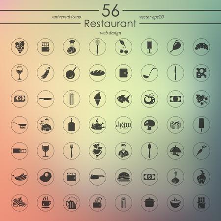 food tray: Set of restaurant icons Illustration