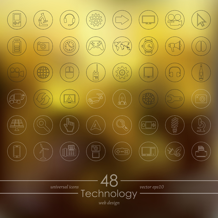 quality icon: Set of technology icons Illustration