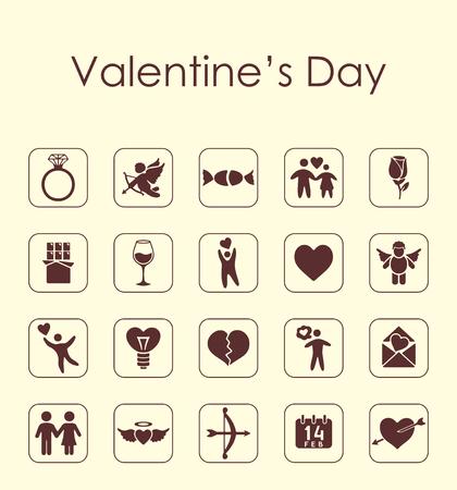 Set van Valentijnsdag eenvoudige pictogrammen