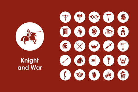 templar: It is a set of knight and war simple web icons Illustration