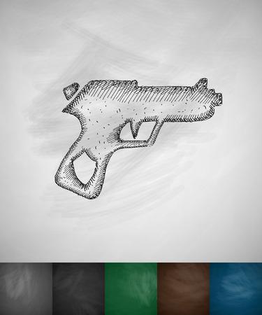 threaded: gun icon. Hand drawn vector illustration. Chalkboard Design Illustration