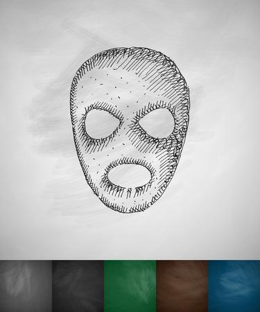 hostages: mask icon. Hand drawn vector illustration. Chalkboard Design Illustration