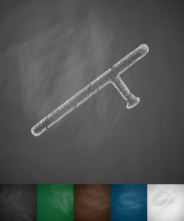 nightstick: baton icon. Hand drawn vector illustration. Chalkboard Design