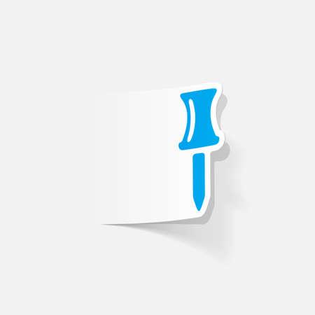 push pin: realistic design element: push pin Illustration
