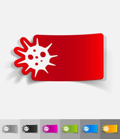 epidemic: virus paper sticker with shadow. Vector illustration Illustration