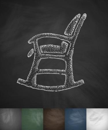 rocking: rocking chair icon. Hand drawn vector illustration. Chalkboard Design Illustration