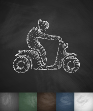 moped: woman on moped icon. Hand drawn vector illustration. Chalkboard Design