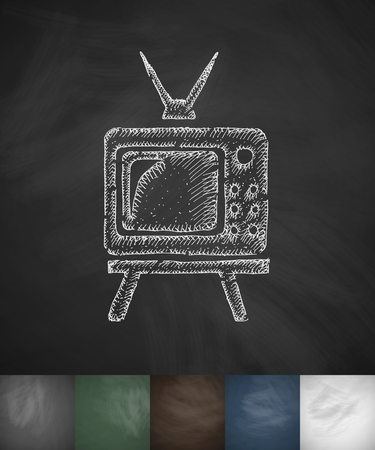 watch tv: pensioners watch TV icon. Hand drawn vector illustration. Chalkboard Design