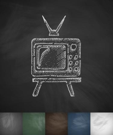 ver television: pensionistas reloj icono de la televisi�n. Dibujado a mano ilustraci�n vectorial. Dise�o pizarra Vectores