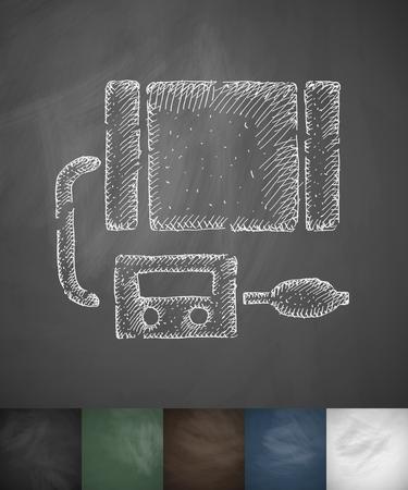 tonometer: tonometer icon. Hand drawn vector illustration. Chalkboard Design