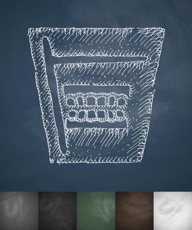 false teeth: false teeth in glass icon. Hand drawn vector illustration. Chalkboard Design Illustration