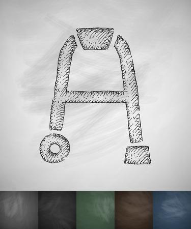 walker: walker icon. Hand drawn vector illustration. Chalkboard Design