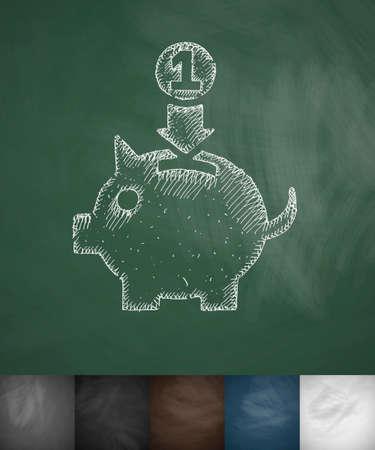 money box: money box icon. Hand drawn vector illustration. Chalkboard Design Illustration