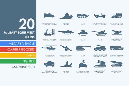 warhead: military equipment vector set of modern simple icons Illustration