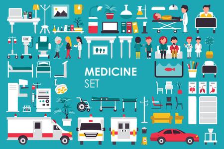 Medycyna Big Collection w płaski design tle koncepcji. Elementy Infographic zestaw z lekarzem personel szpitala i pielęgniarka wokół sprzętu Narzędzia medycyny. Ikony dla danego produktu lub ilustracji