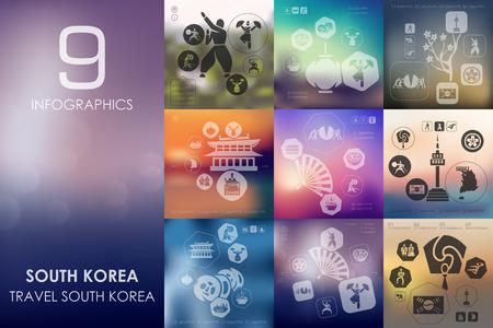 Corée du Sud vecteur infographies avec fond flou flou