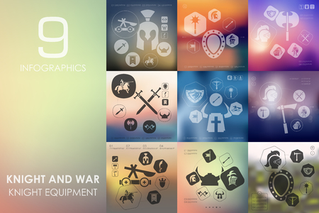 templar: knight and war vector infographics with unfocused blurred background Illustration