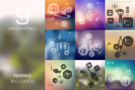 sinker: fishing vector infographics with unfocused blurred background