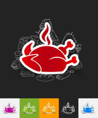 grease: hand drawn simple elements with chicken paper sticker shadow Illustration