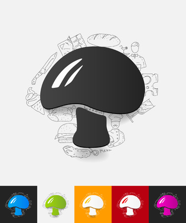 sponge mushroom: hand drawn simple elements with mushroom paper sticker shadow Illustration