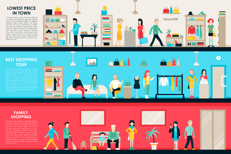 Shopping Center and Boutique Rooms flat shop interior concept web. Fashion Clothes Customers Mall Retail Purchase. Vector Illustration Vectores