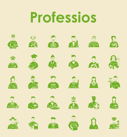 professionalism: Set of professions simple icons Illustration
