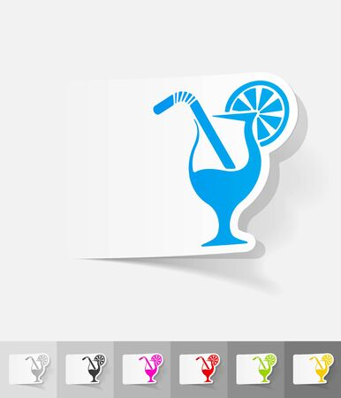 spirituous beverages: cocktail paper sticker with shadow. Vector illustration Illustration