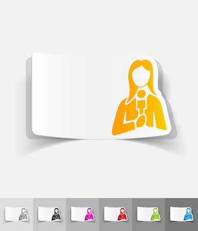 tv tower: female reporter paper sticker with shadow. Vector illustration