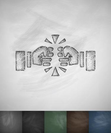 fist fight: fist fight icon. Hand drawn vector illustration. Chalkboard Design