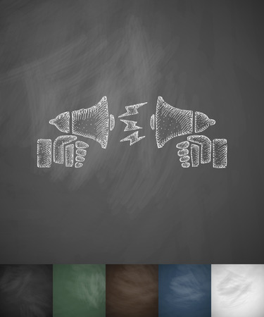 dispute: dispute on the horns icon. Hand drawn vector illustration. Chalkboard Design