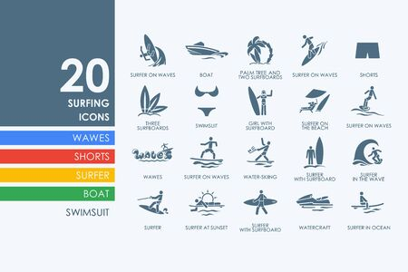 somersault: surfing vector set of modern simple icons