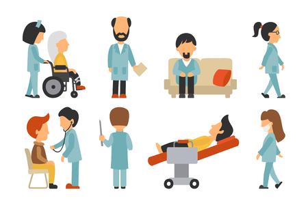 医療スタッフ フラット、ホワイト バック グラウンド、医師、看護師、介護上で分離、回収の人々 ベクトル イラスト、グラフィック デザインの編  イラスト・ベクター素材