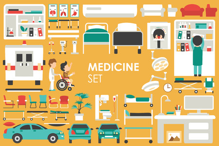 Medical Big Collection in flat design background concept. Infographic elements set with hospital staff doctor and nurse around medicine tools equipment. Icons for your product or illustration Imagens - 55911010