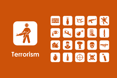 riot: It is a set of terrorism simple web icons Illustration