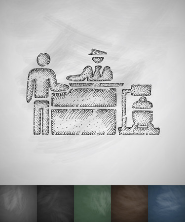 inspection: Inspection at the airport icon. Hand drawn vector illustration. Chalkboard Design