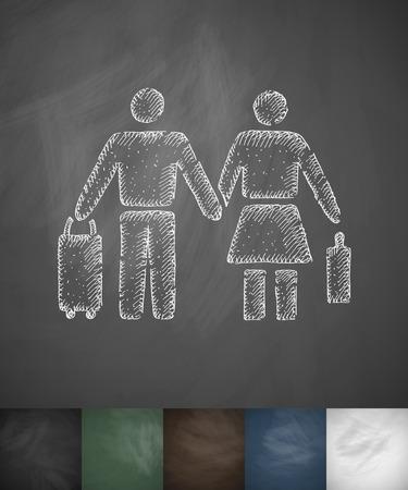 emigranti: pair of emigrants icon. Hand drawn vector illustration. Chalkboard Design